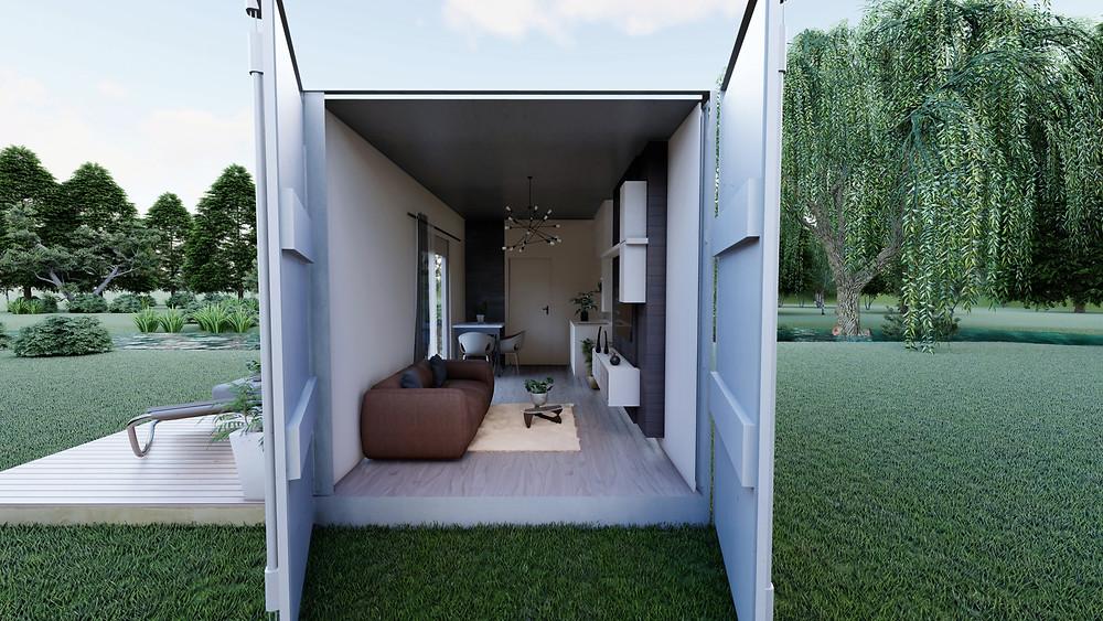Container studio dans un jardin