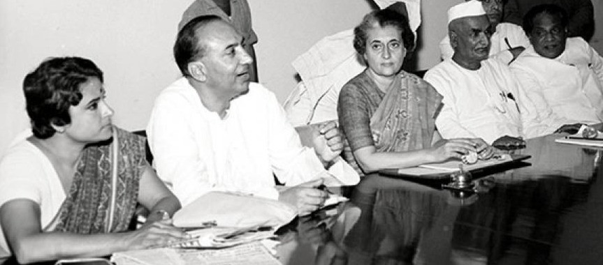 Former PM Indira Gandhi is seen during a Congress parliamentary party meeting in New Delhi on July 17, 1969