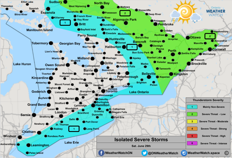 Thunderstorm Forecast, for Southern Ontario. Issued June 29th, 2019.