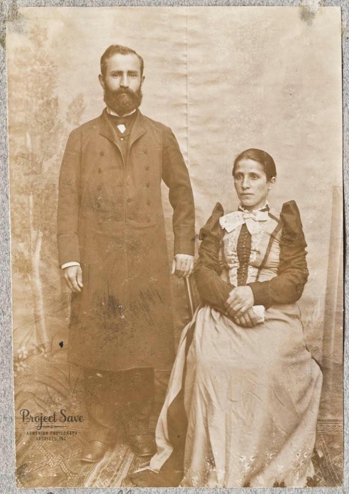 "Diarbekir, Ottoman Empire, ca. 1903-1911  One photo in album. Information from text handwritten in album in English: ""Bad. Lanas [?] and wife. Diarbekir."" Courtesy of Kenar Aboyan and Tamar Der Vartanian Boghosian"