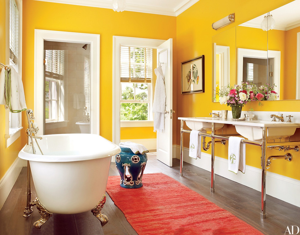 master bathroom, small bathroom, yellow bathroom, master bathroom, colorful bathroom, light bathroom, peter pennoyer, classical architecture