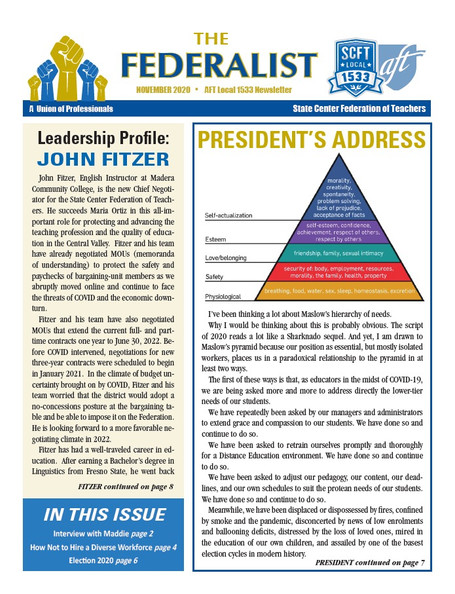 Check out the November 2020 Federalist!