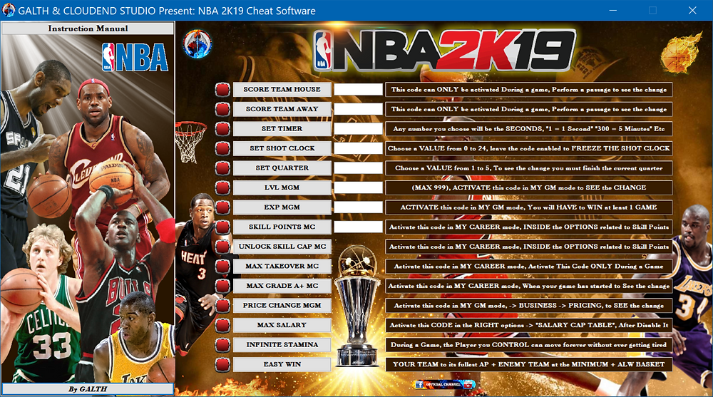 cloudend studio, galth, NBA 2k19, 2k, cheat, trainer, code, mod, software, steam, pc, youtube, google, facebook, cheat engine, cheat table, free, script, tool, gameplay, game, dlc, unlock, 100%, salary, vc, basket, nba, achievements, skill points, infinite stamina, exp, max lvl, grade, NBA 2k, My GM, My Career, best team, takeover, video game, gaming, price change, season, game source, multiplayer, eurogamer, gamesurf, tricks, engaños, トリック, 騙します, betrügen, trucchi, complete guide, cheat happens, minecraft, league of legends, 18/04/2019,