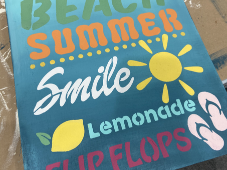 Vacation, Summer, Fun...create this bright wood decor with DIY Paint and a JRV Stencil