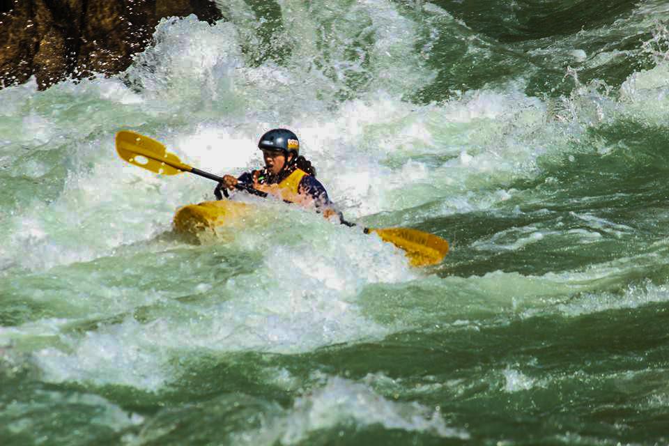 Sunita Chauhan riding her waves high during Ganga Kayak festivals ©Inspire Crew