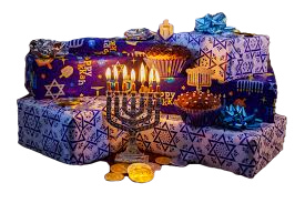 Pile of presents wrapped with Jewish-themed wrapping paper, and a lit Menorah in front.