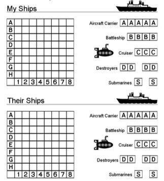 Image of battleships paper board