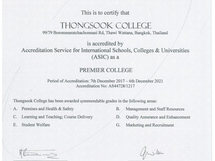 Thongsook College awarded Premier College Membership to ASIC, Accreditation Services for Intonation