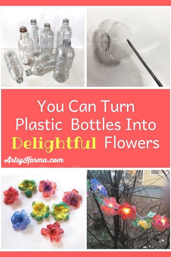 turn plastic bottles into flowers