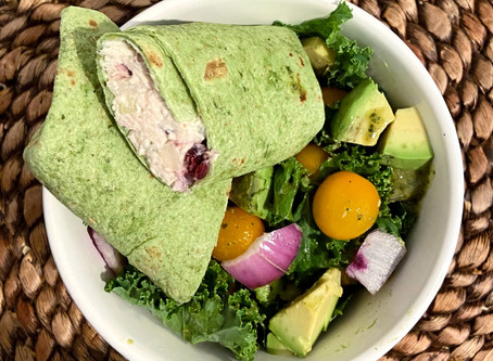 Chicken Salad Wrap With a Side of Greens