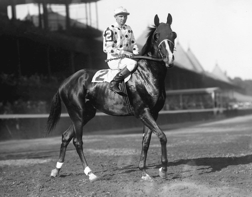 "1948 Triple Crown winner Gallant Fox, ""the father of the Triple Crown"", and Earl Sande."