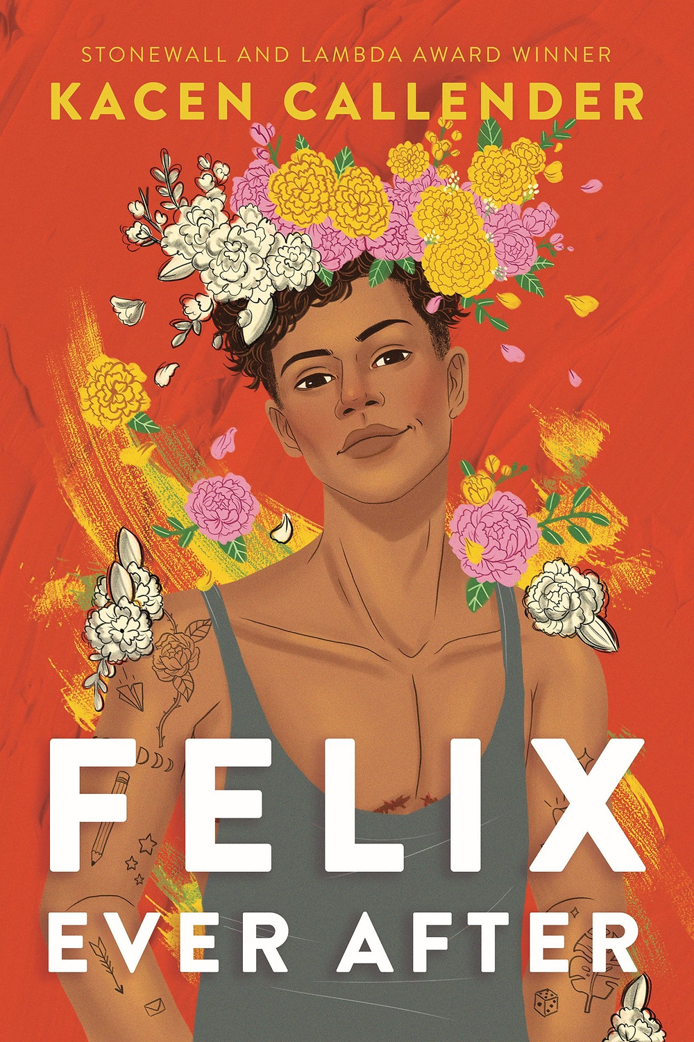 a brown trans boy with a flower crown looks directly at the reader