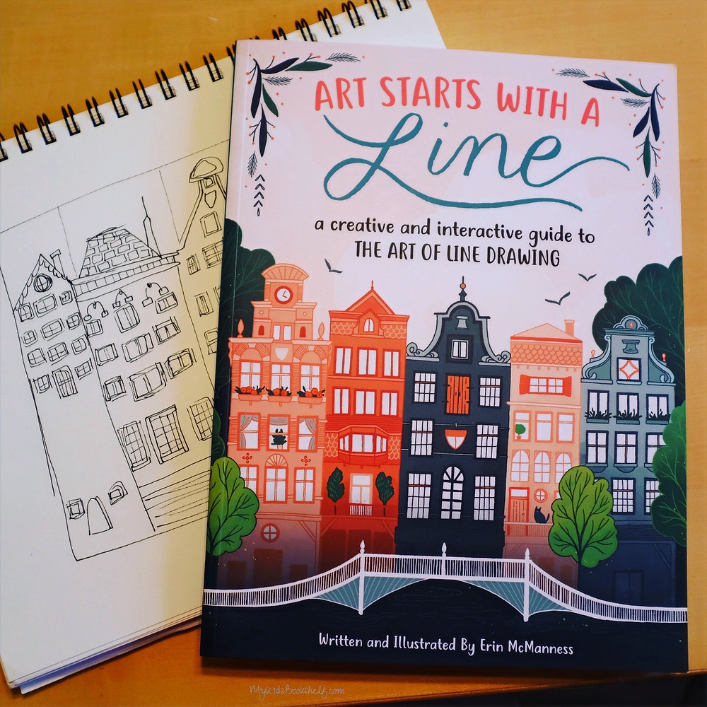 Art Starts with a Line book book cover with illustrated buildings and sketchbook