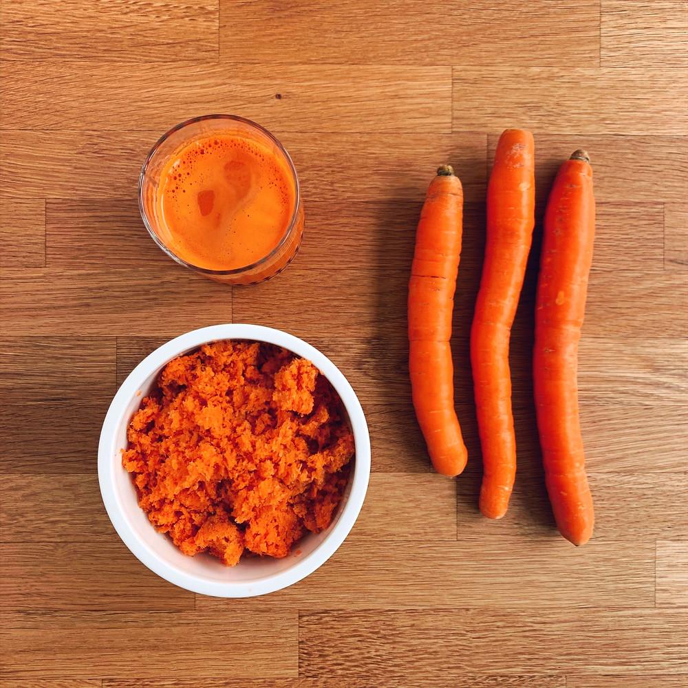 Jus, Pulpe et carottes