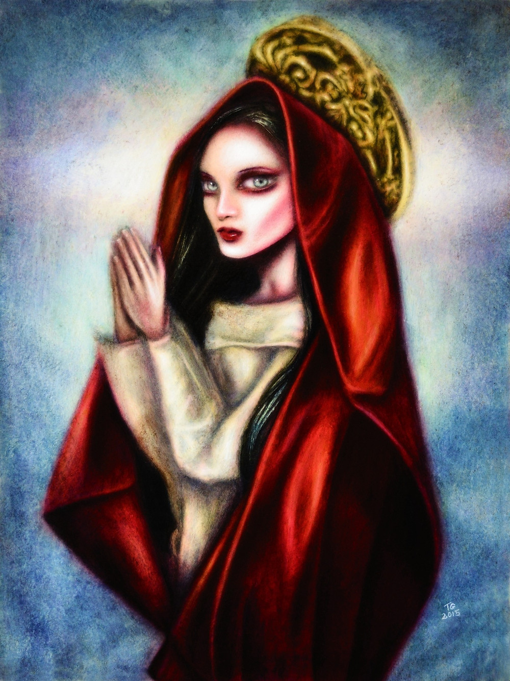 painting of a praying virgin mary with a red mantle and a blue background by tiago azevedo a lowbrow pop surrealism artist