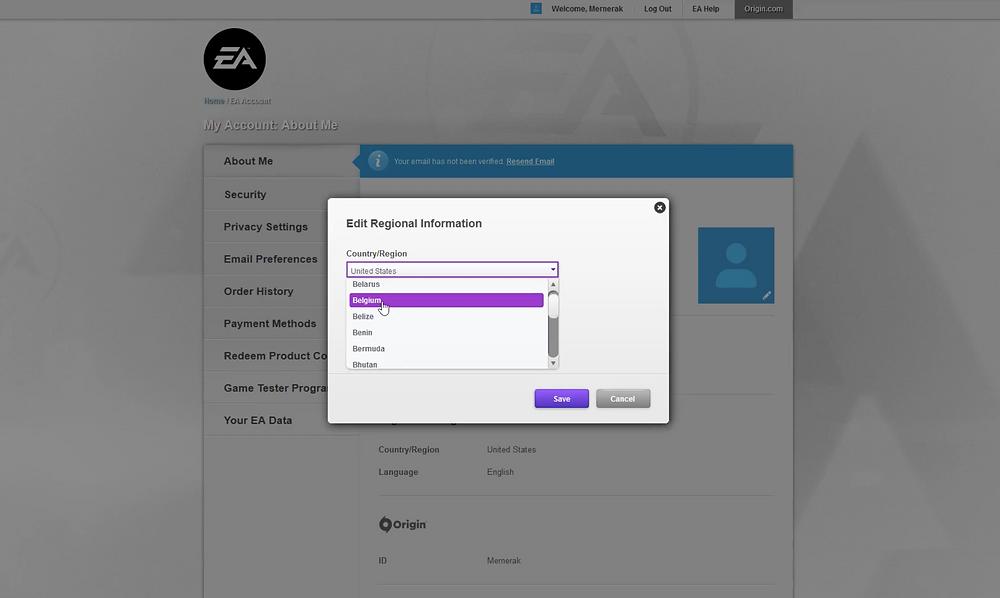 Изменение настроек местоположения на странице Origin, помогает.
