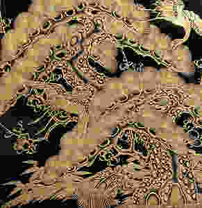 Enlarged Chinkin detail old pine tree, two cranes & turtle