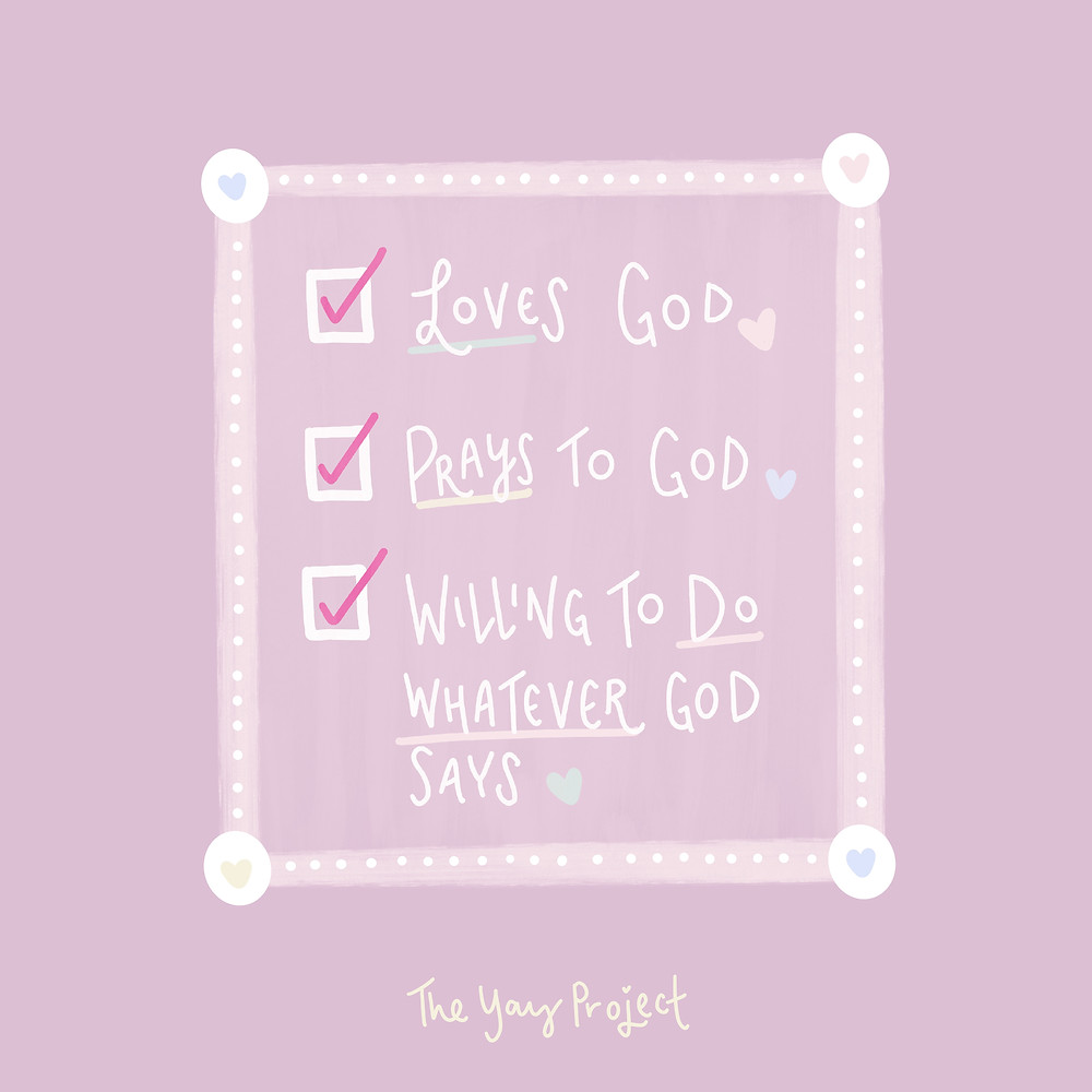 Christian graphic art on love prayer and obedience to God by The Yay Project Jenni Lien
