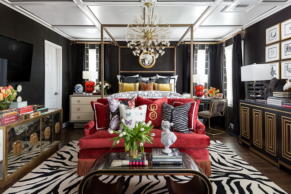 Maximalist Master Bedroom With Red Velvet Sofa