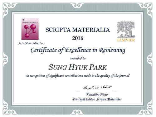 2017.03.22 우수 리뷰어상 수상 from Scripta Materialia