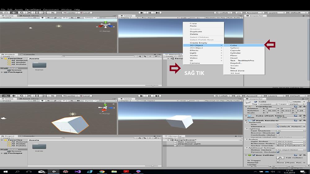 Sahneye 3D Nesne Ekleme