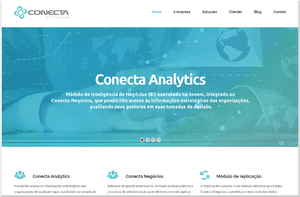 Sitio de la empresa Conecta Softwares con destaque al nuevo producto.