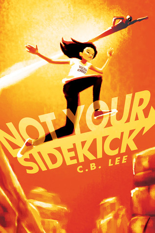 An Asian teenage girl jumps between the red stones of a canyon; in the background a 1950s-esque superhero bolts across the sky