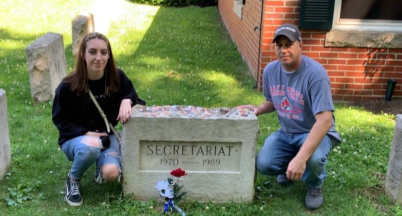 Secretariat headstone at Claiborne Farm, Visit Horse Country tour of Thoroughbred farm in Paris, Kentucky
