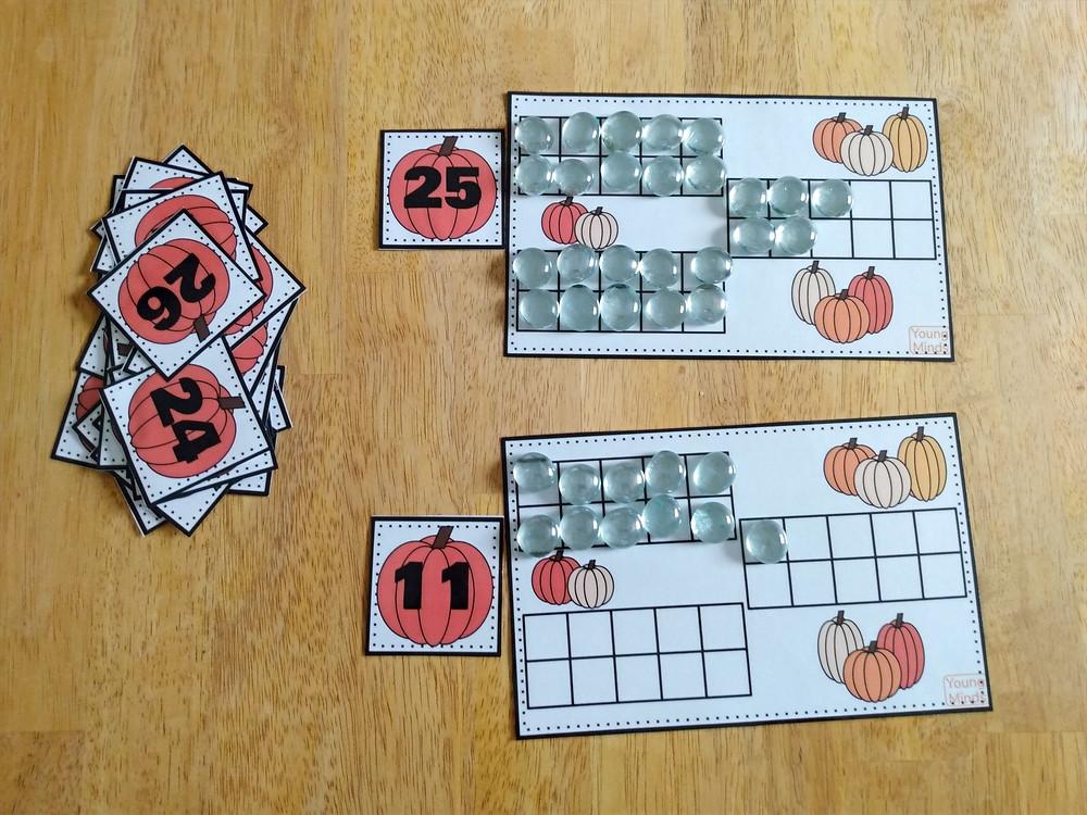 Pumpkin themed ten frame mats with manipulatives