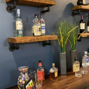Reclaimed Pine Shelves with Plumbing Pipe Brackets