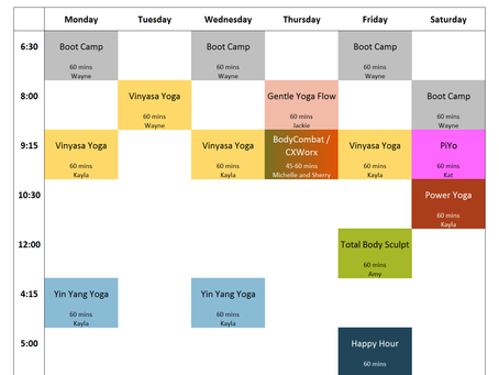 Virtual Classes Schedule, Week of 4/20