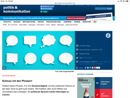 """Phrasen-Bashing in """"politik & kommunikation"""""""