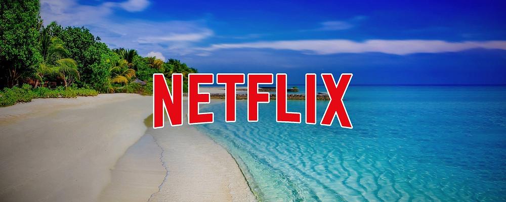 Netflix logo against a tropical beach background