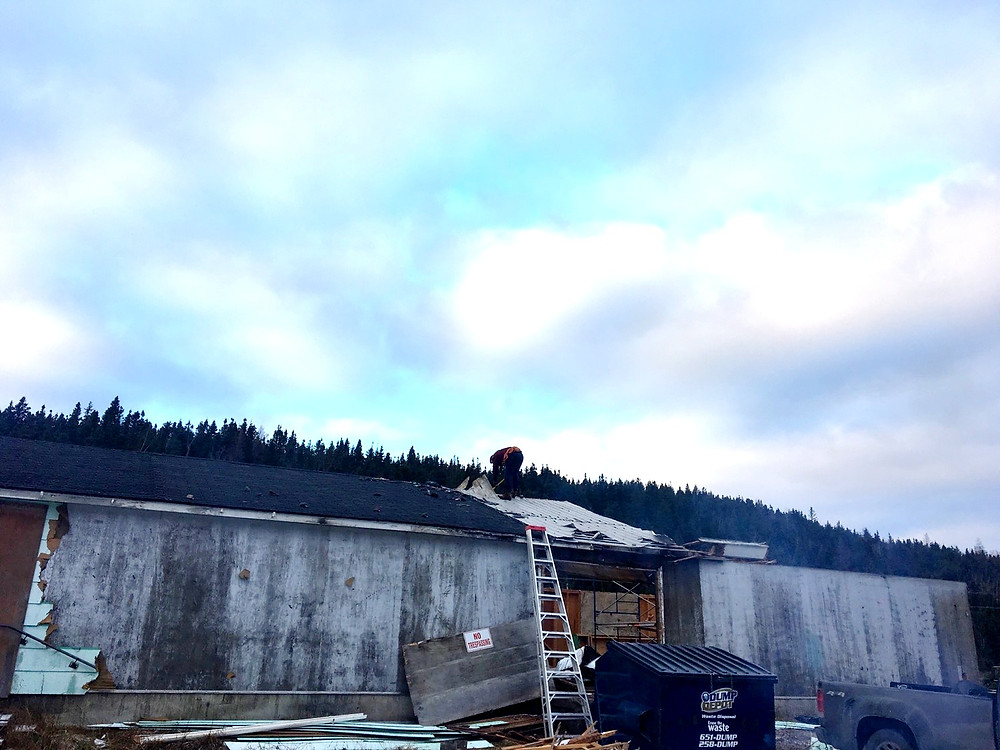 Dismantling an old feed shed for recycled building materials for our cabin