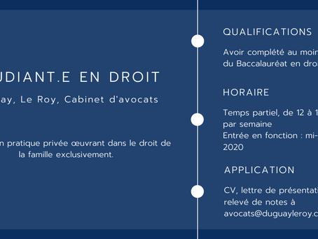 Étudiant.e en droit - Duguay, Le Roy, Cabinet d'avocats