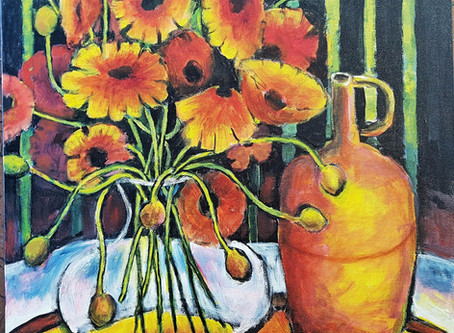 Pretty poppies flower painting