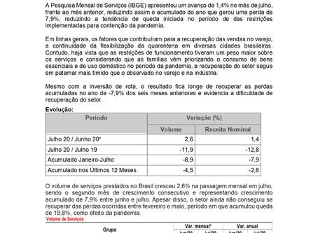 Nota Econômica Semanal - Pesquisa Mensal de Serviços - PMS Agosto 2020