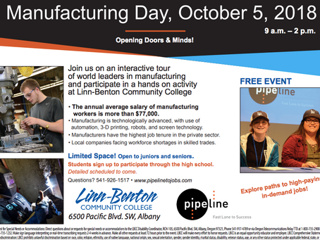 Manufacturing Day, October 5, 2018 (9am-2pm) at Linn-Benton Community College