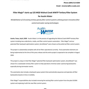 Filter Magic® starts up 125 MGD Walnut Creek WWTP Tertiary Filter System for Austin Water