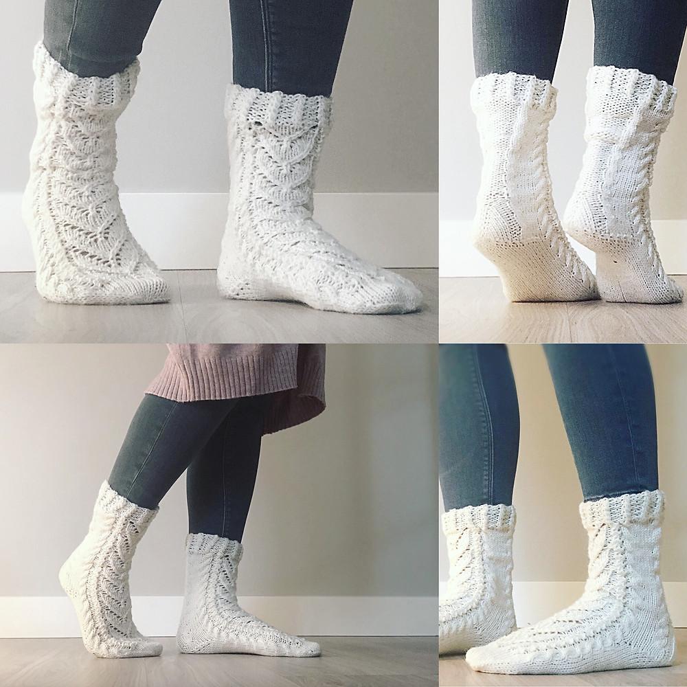 Kauniin ja helpon mallin voi neuloa lyhyenä tai pitkänä.
