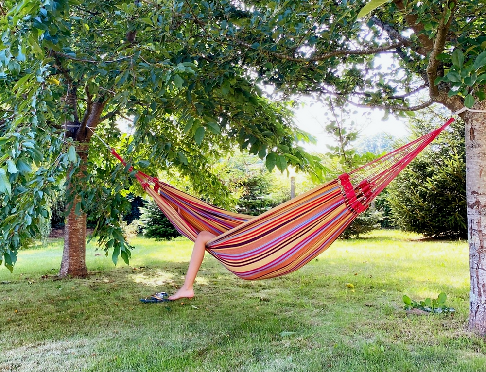 leg sticking out of a hammock between trees