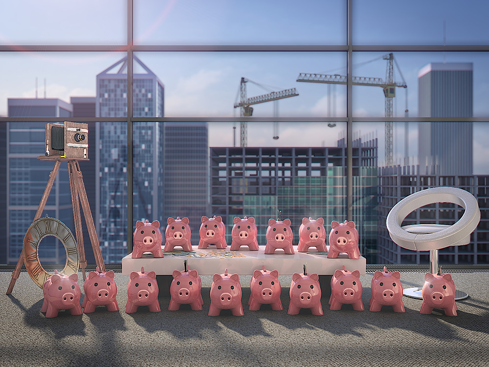 Photorealistic marketing 3D Rendering with the many money pigs