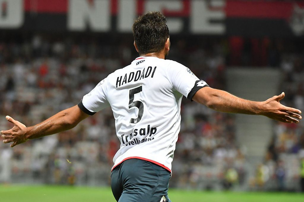 Oussama Haddadi célébrant son but face à l'OGC Nice