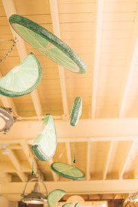 Limes decorations Hanging from the ceiling at the Key LIme Pie Company in Key West Florida