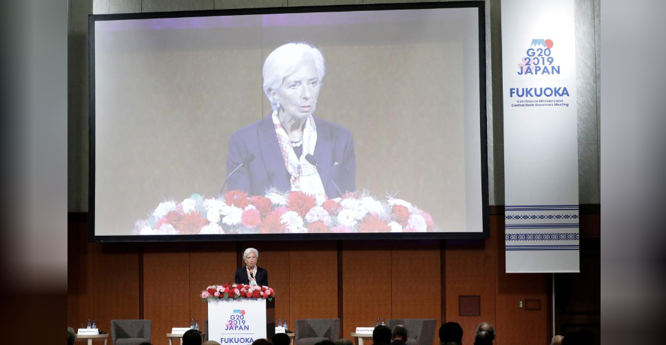 "Christine Lagarde, managing director of the International Monetary Fund (IMF), speaks at the Group of 20 (G-20) high-level seminar on financial innovation ""Our Future in the Digital Age"""