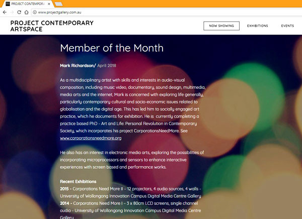 A screenshot of my Member of the Month for April blurb
