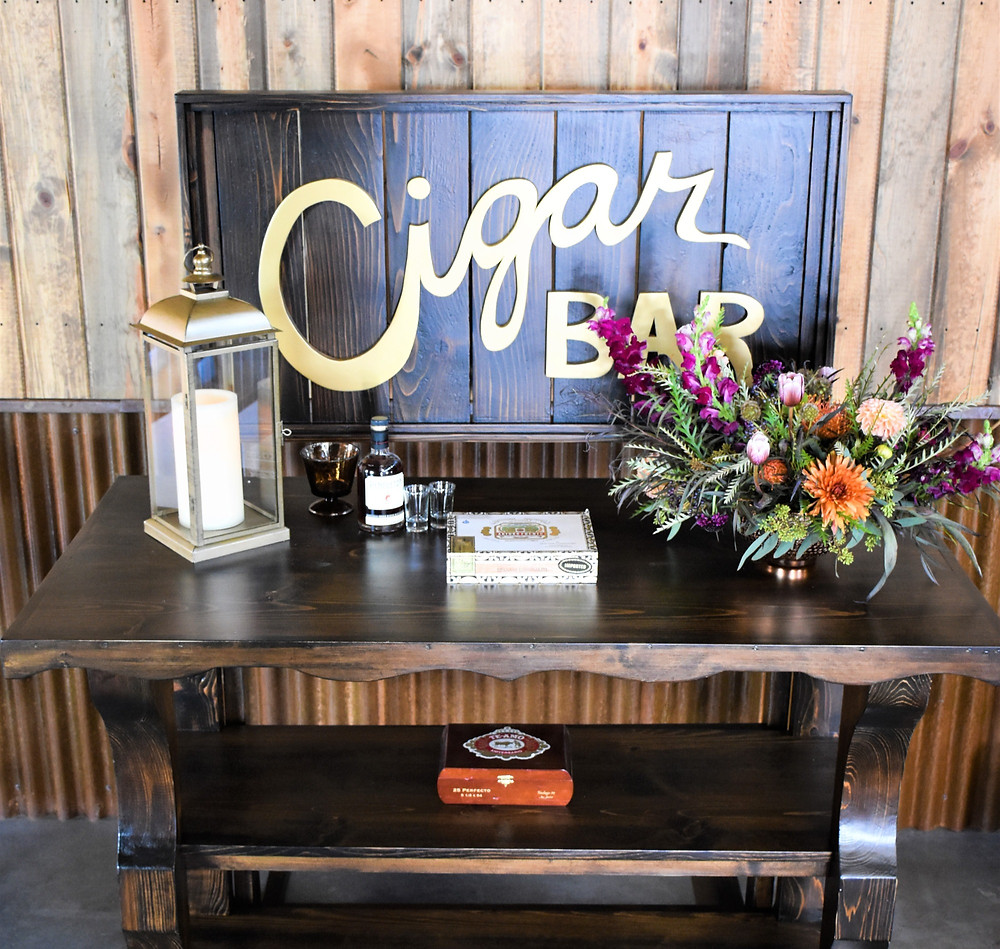 Custom Built Espresso wedding cigar bar by unique design rentals at orchard river view
