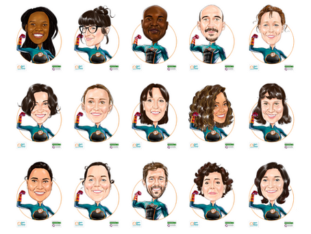 Team Superhero caricatures