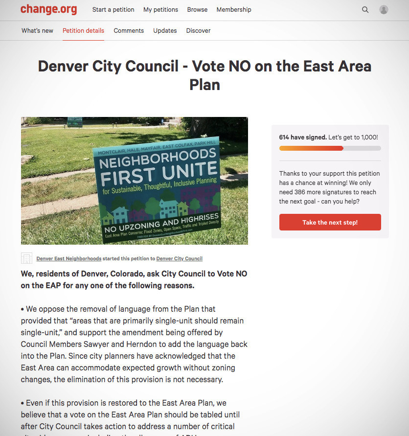 Yimby Denver: Petition in opposition to the East Area Plan