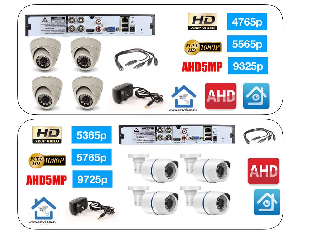 Стоимость комплектов видеонаблюдения на 4 камеры